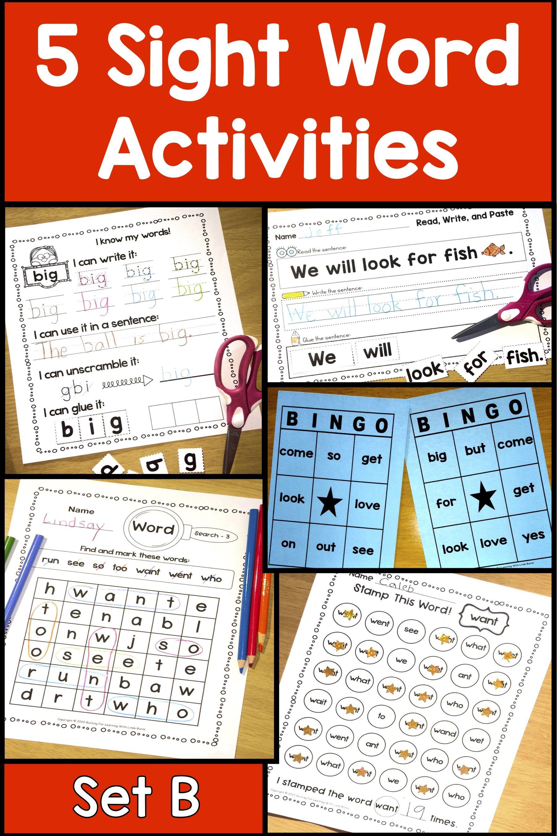 Sight Word Activities Set B In