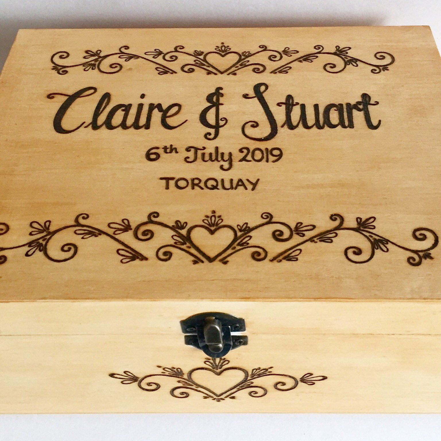 Pyrography Wooden Wedding Keepsake Box Gorgeous Personalised