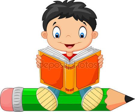 Descargar Nino Leyendo Un Libro De Dibujos Animados Ilustracion De Stock 72456615 School Wall Art Cartoon Kids Clipart