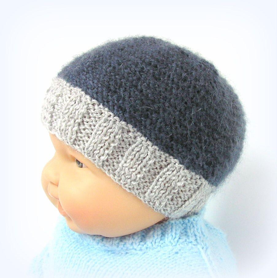 Bonnet bébé bleu foncé et gris taille 3/6 mois Tricotmuse : Mode Bébé par tricotmuse