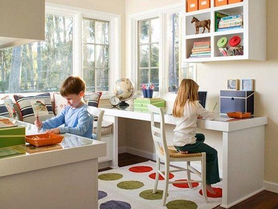 Como crear una zona de estudio para dos ni os sala de - Habitacion para dos ninos ...