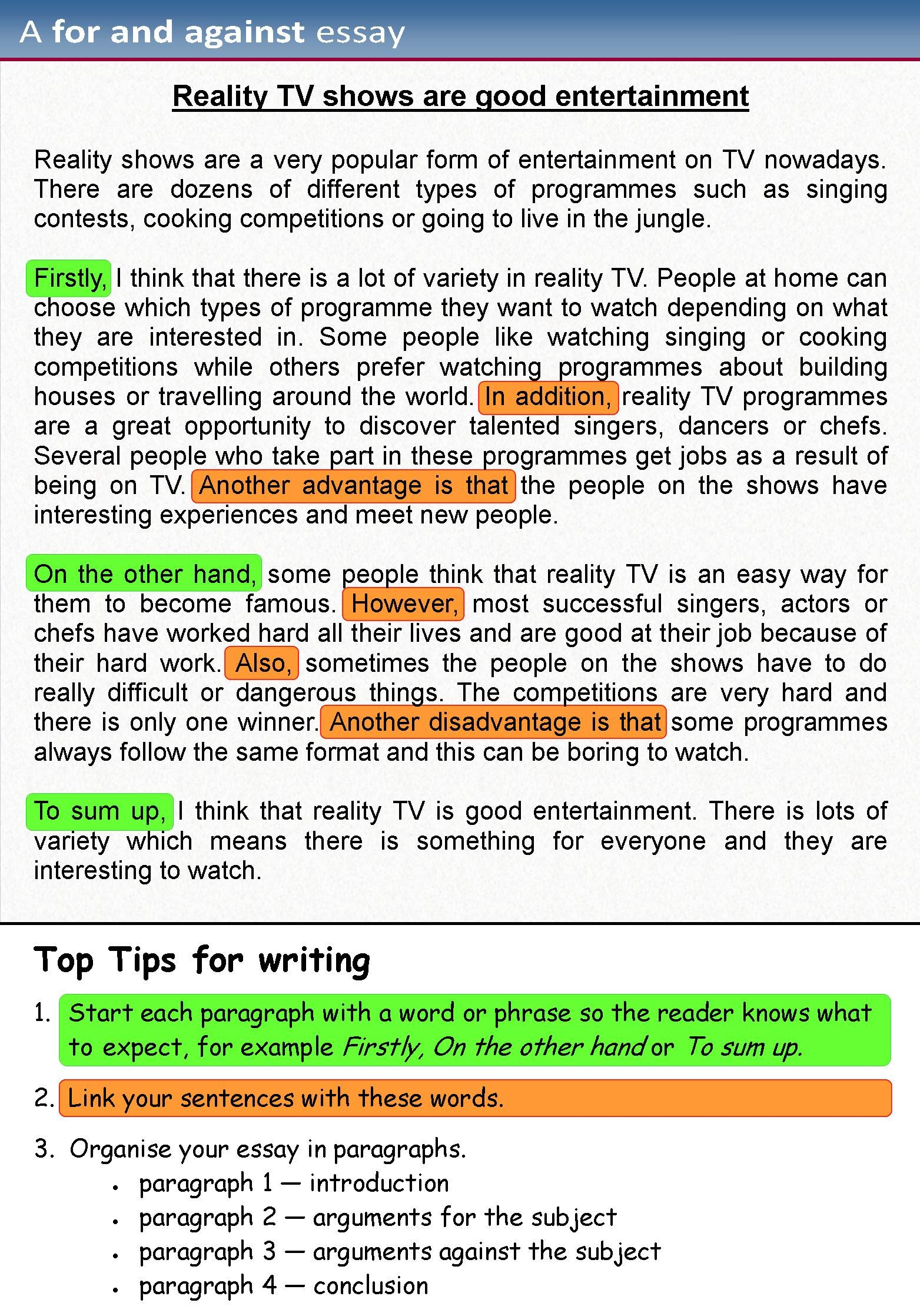 A For And Against Essay Essay Writing Examples Essay Writing English Writing