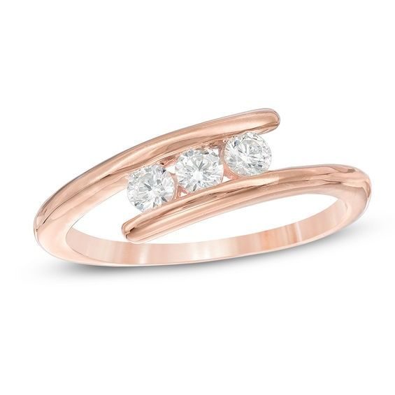1 4 Ct T W Diamond Three Stone Bypass Engagement Ring In 10k Rose Gold In 2020 Gold Bangles Design Engagement Rings Rose Gold