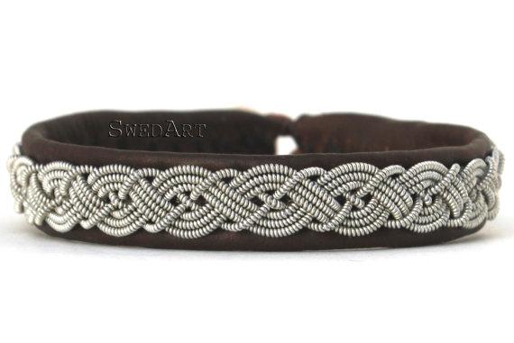 "SwedArt B13 Celtic Swedish Reindeer Leather Sami Bracelet with Pewter Braid and Antler Button-3/8"" Wide Dark Brown MEDIUM"