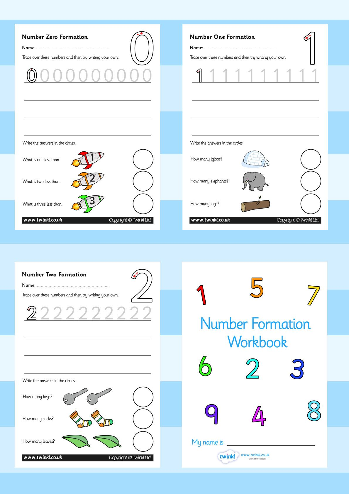 Twinkl Resources Number Formation Workbook Printable Resources