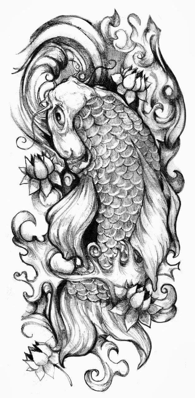 Black And Grey Koi Fish Sleeve Tattoos: Koi Fish. Its Pretty P0pular In Asia