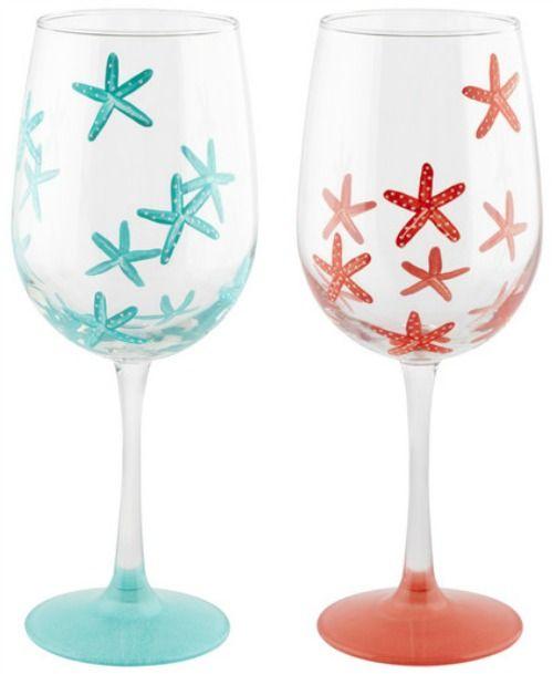Coastal Drinking Glasses With A Splash Of Ocean Sea Life Designs Wine Glass Crafts Wine Glass Designs Wine Glass
