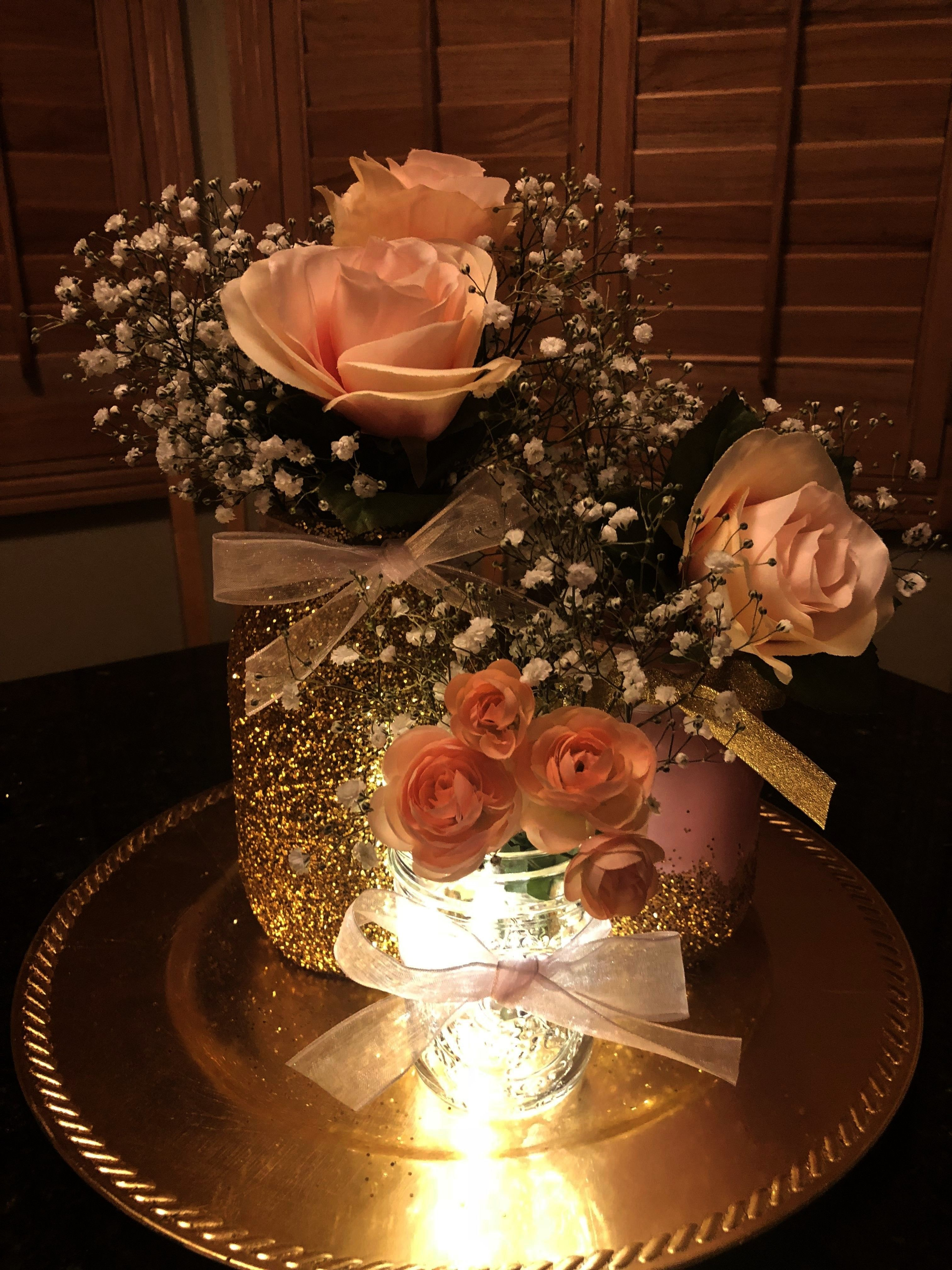 centerpieces - -Mason jar centerpieces - -  *** FAST 1-3 day USPS shipping*** Gold sequence photo b
