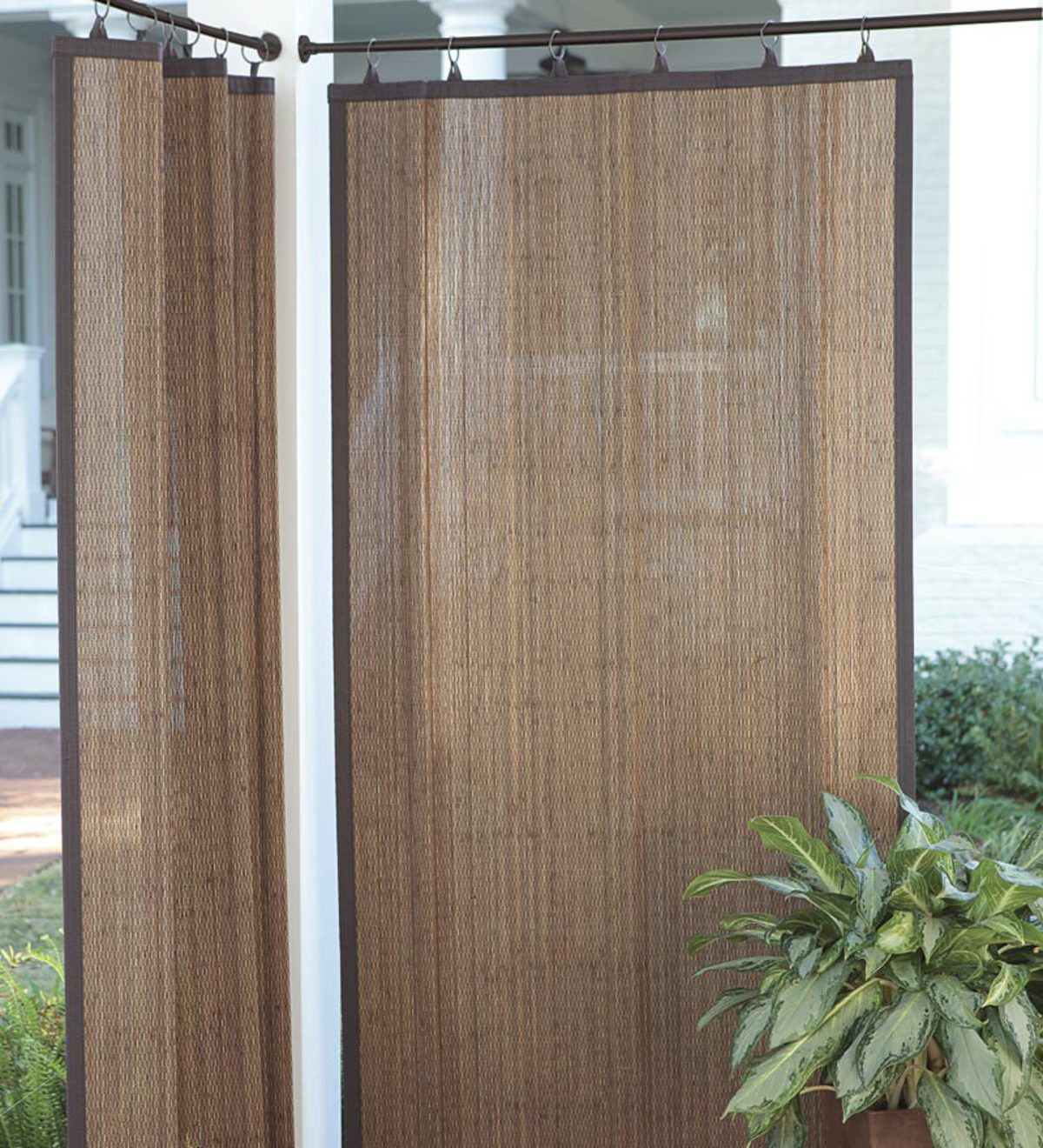 Create Shade And Privacy Outdoors With Outdoor Bamboo Curtain Panels The Patented Design With Ring Ta Outdoor Bamboo Curtains Bamboo Curtains Outdoor Curtains