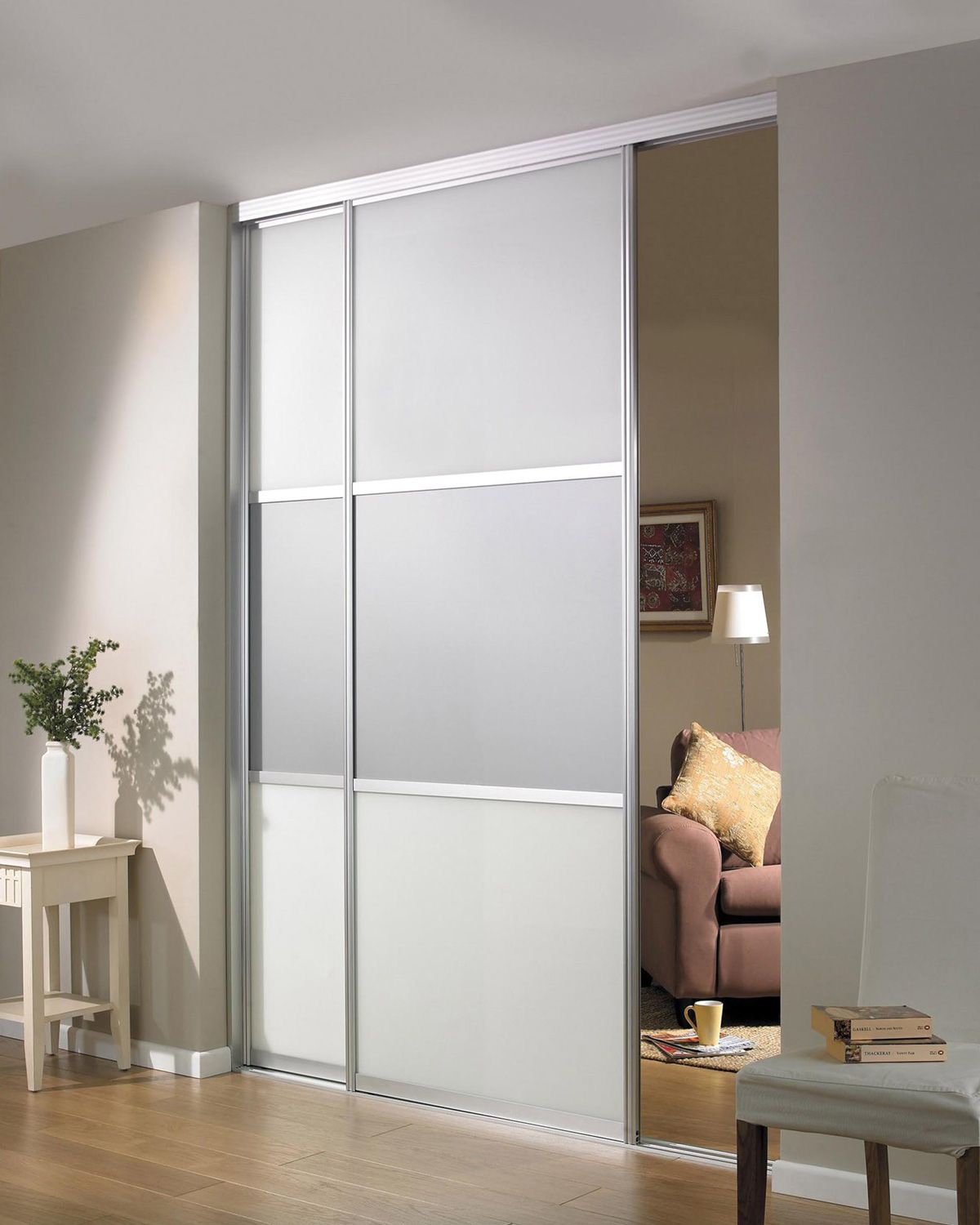 Beautiful Sliding Room Divider Design Idea In Gray With Two Panels And Single Rail Installed