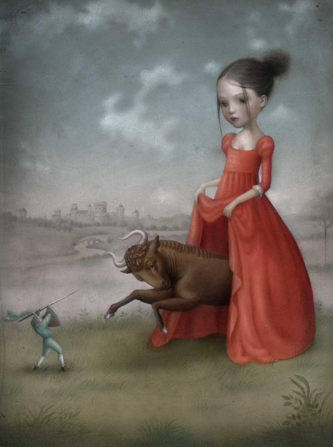 """""""Release"""" by Nicoletta Ceccoli // #nicolettaceccoli #nicoletta #ceccoli (the power her 'little girl' sheroes have, is so interesting. A cool message for little girls and big women alike. oh, and for guys -- cuz i'm sure many have never imagined a bull charging from under a red ballgown. haha"""