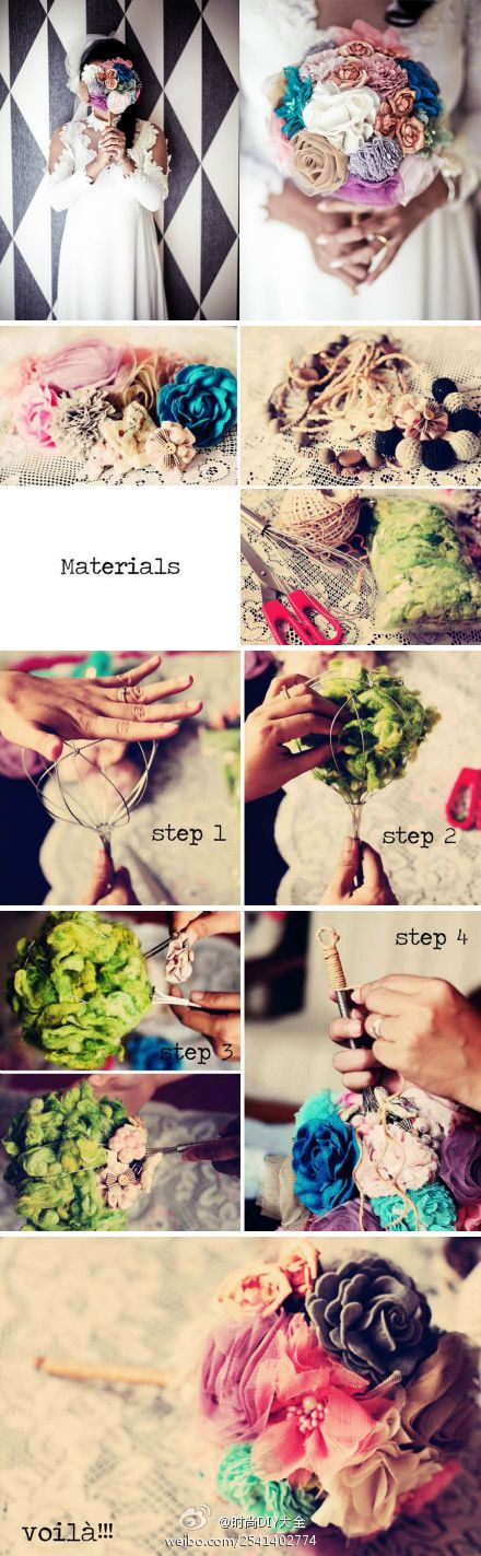 make your own bouquet out of lil scraps of fabric, buttons, felt, etc. i like the idea.