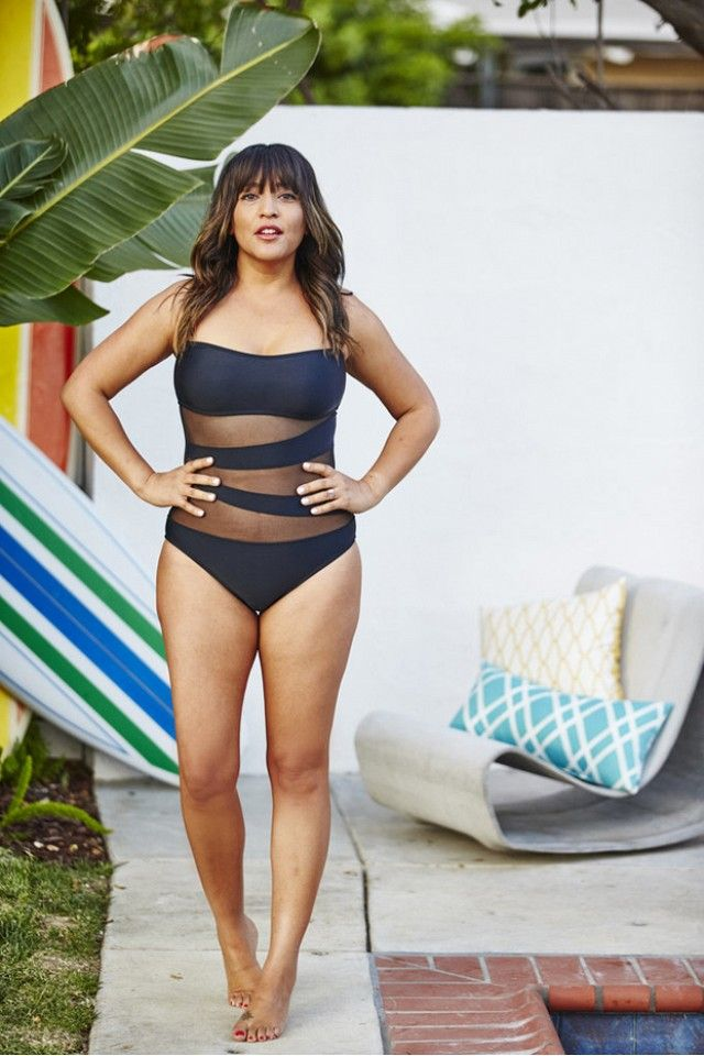 d098e5d95b21a2 Shop the look  Mossimo Mesh Inset Microgoddess Bandeau One-Piece Suit ( 40)