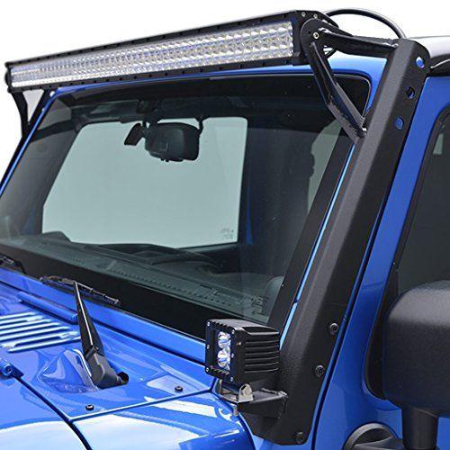 U Box Steel Straight 52 Inch Led Light Bar Upper Windshield Mounting Brackets For Jeep Jk Wrangler Jeep Wrangler Jeep Wrangler Accessories Jeep Jk