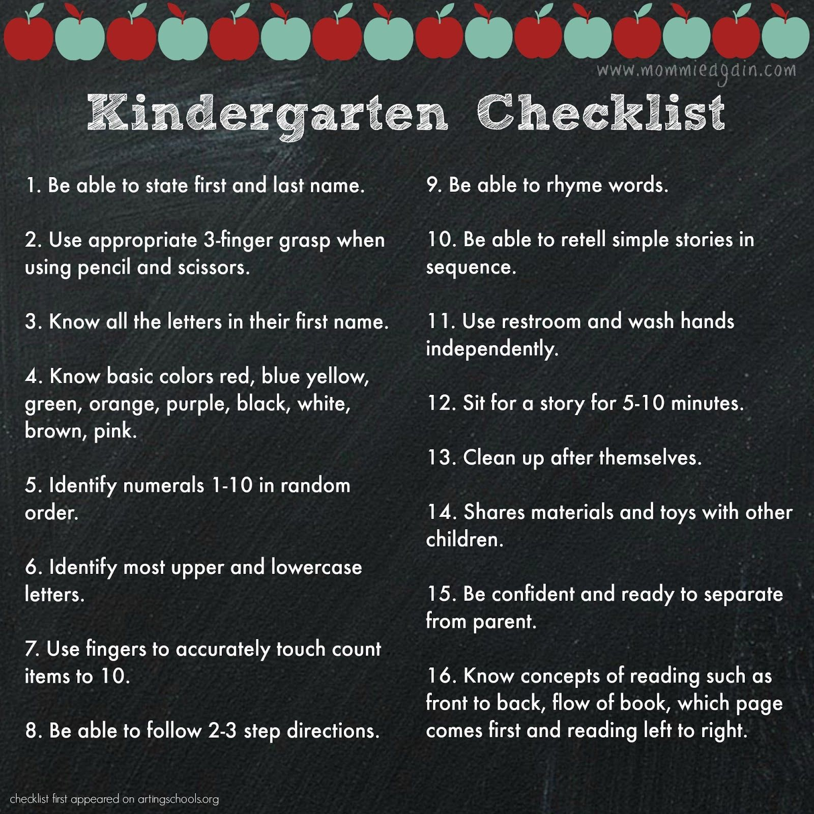 Prepare your child for Kindergarten with this checklist ...