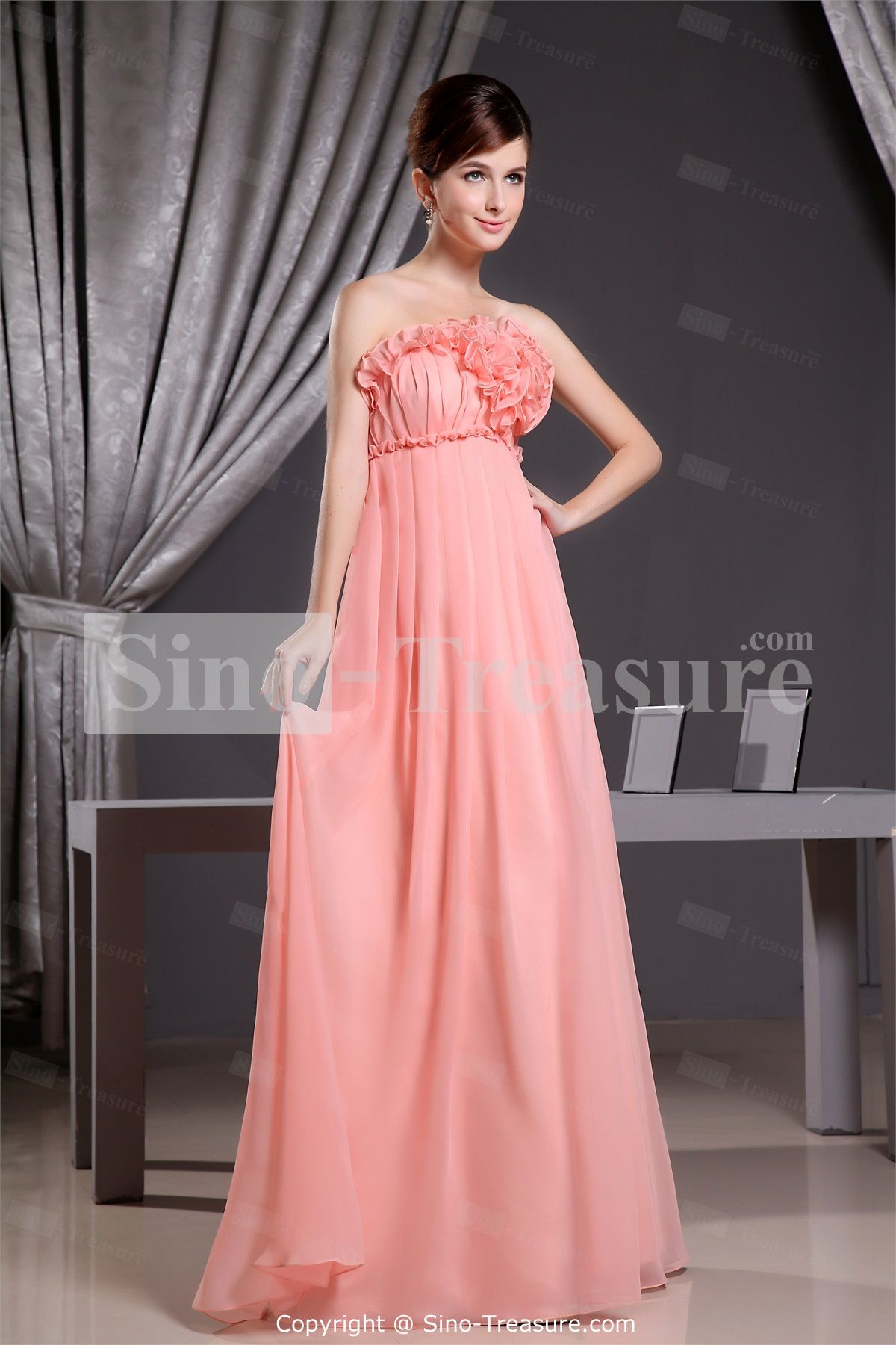 Dark Pink Chiffon Strapless Sleeveless A-Line Pleated Long ...