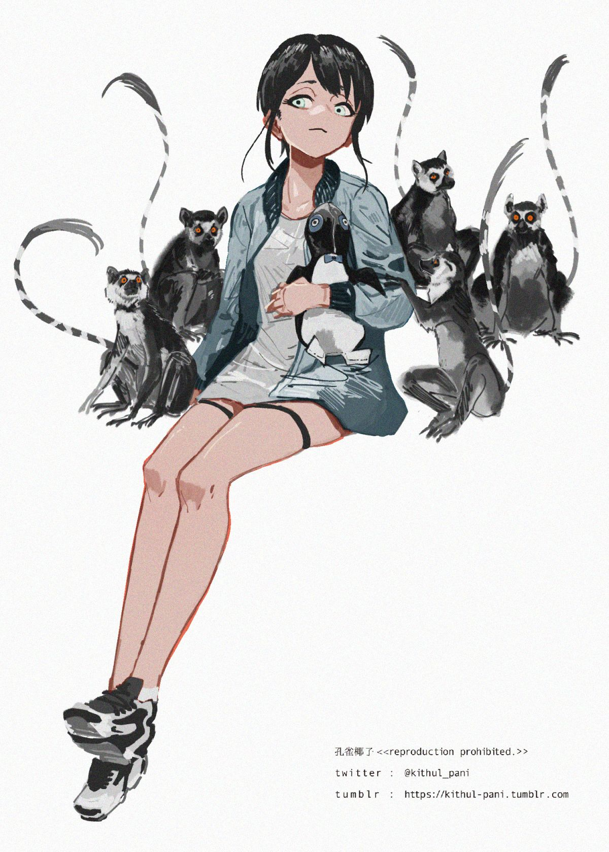 kithul pani ちまちま描いてたイラストを仕上げました抱いてるぬいぐるみのモデルはナウガレザーのピーターペンギンなかなかのレアもので未だに現物は見たことない anime fantasy art
