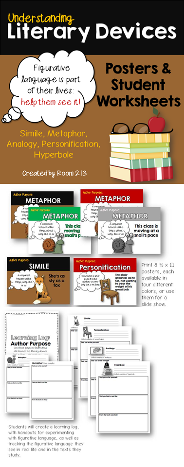 Understanding Literary Devices Posters And Worksheets Simile