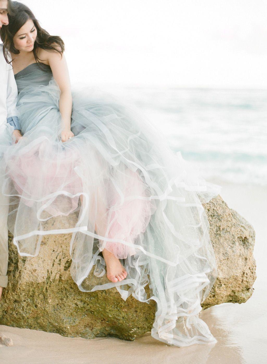 Bali Beach Engagement Session Non White Wedding Dresses Dip Dye Wedding Dress Dye Wedding Dress
