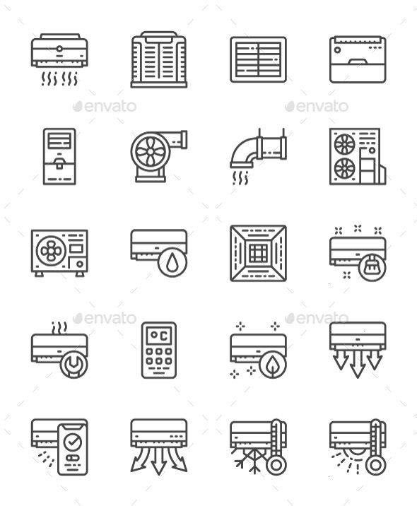 Of Air Conditioning Line Icons Pack Of 64x64 Pixel Icons Fully customisable set of iconsSet Of Air Conditioning Line Icons Pack Of 64x64 Pixel Icons Fully customisable se...