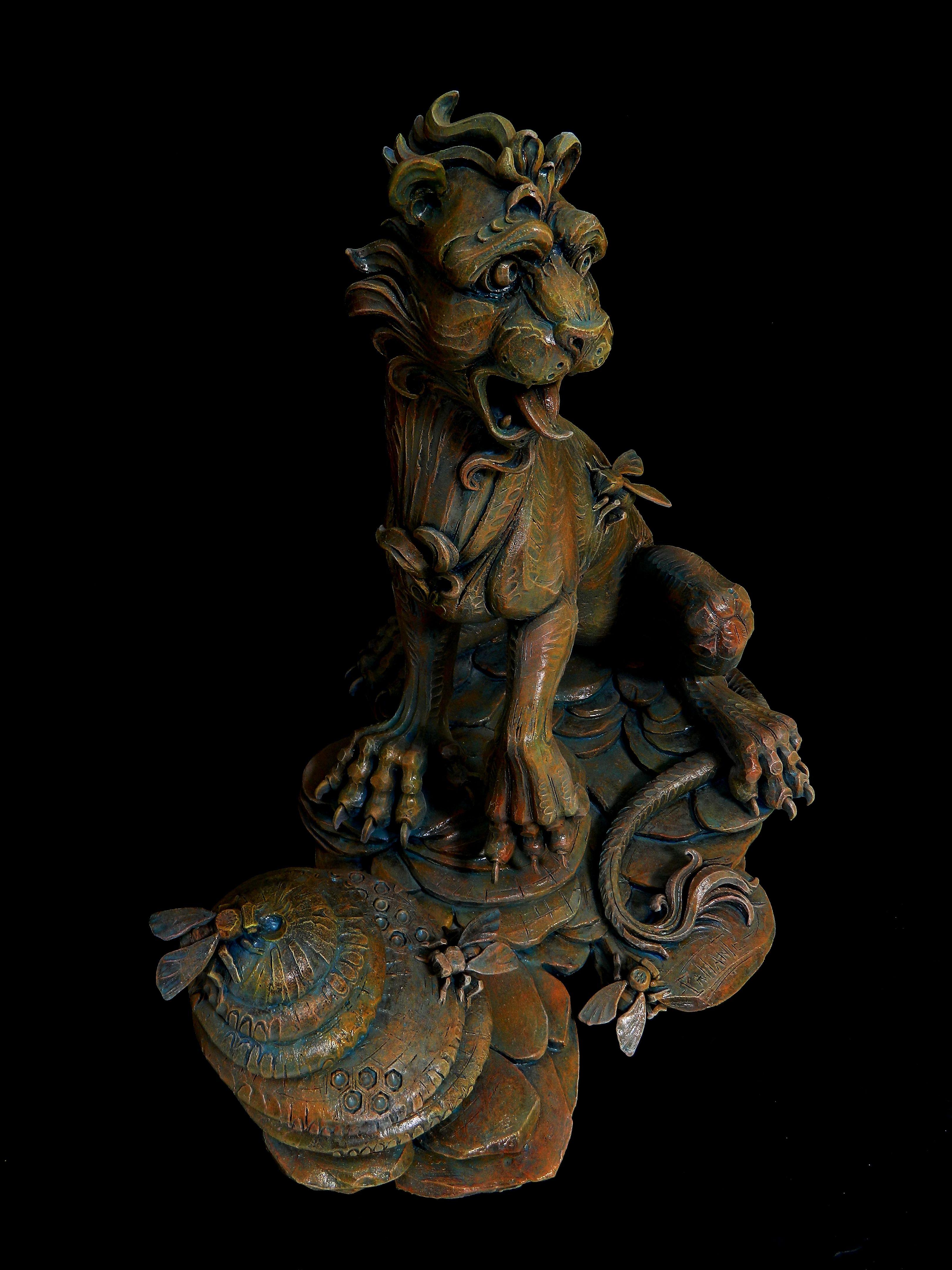 """lion sculpture """"dal forte è uscito il dolce, dal divoratore è uscito il cibo"""""""