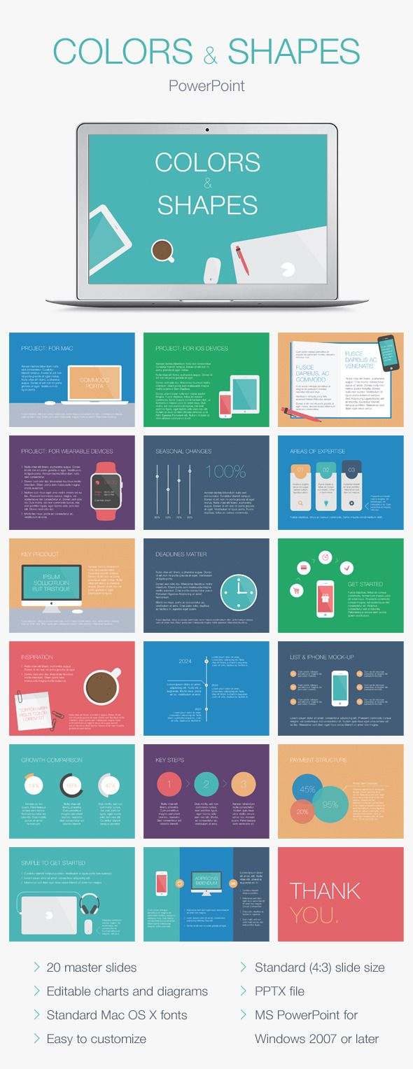 Colors & Shapes PowerPoint Template #design Download: http ...
