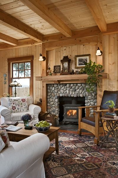 Think Small: A Well Designed Pacific Coast Cottage   Cabin Living.stone  Fireplace And Wood Mantel