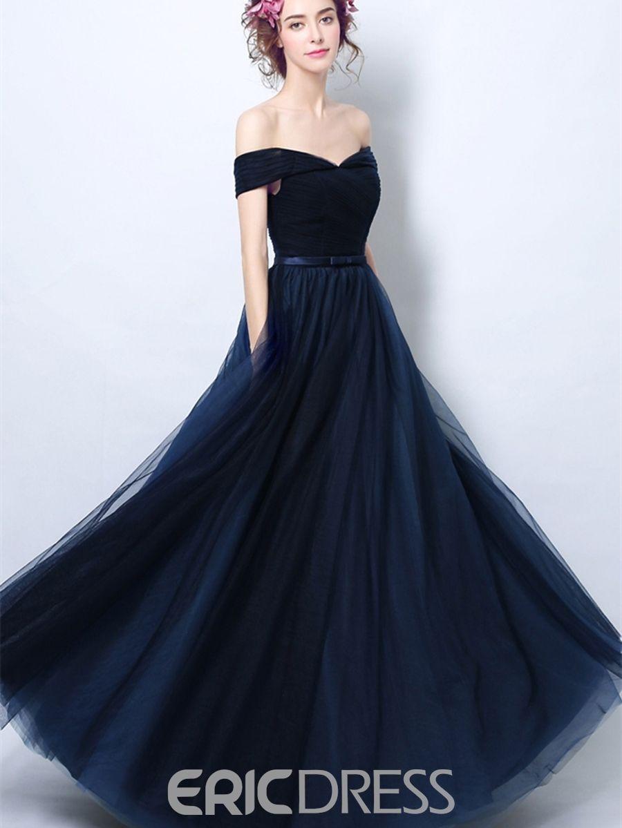 596d7c631 ericdress una línea de hombro vestido de noche de manga corta