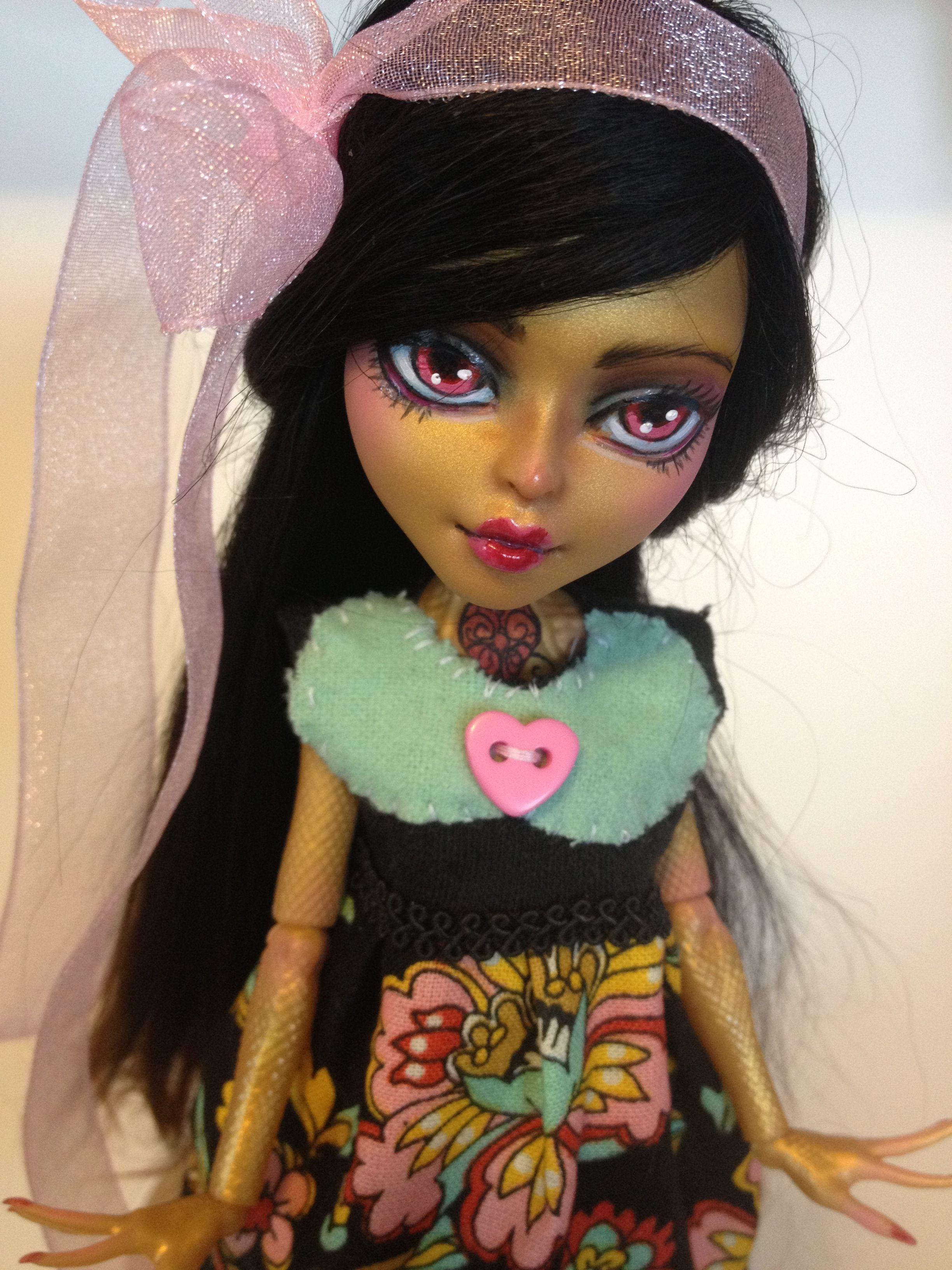 monster high custom doll  ooak monster thesleepyforest keberneteka cute kawaii repaint jinnafire