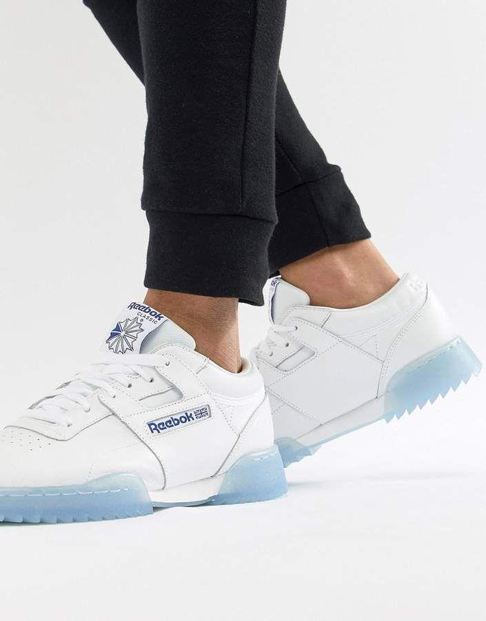 2da0894b70a4 Reebok Workout Clean Ripple Ice Sneakers In White CM9931