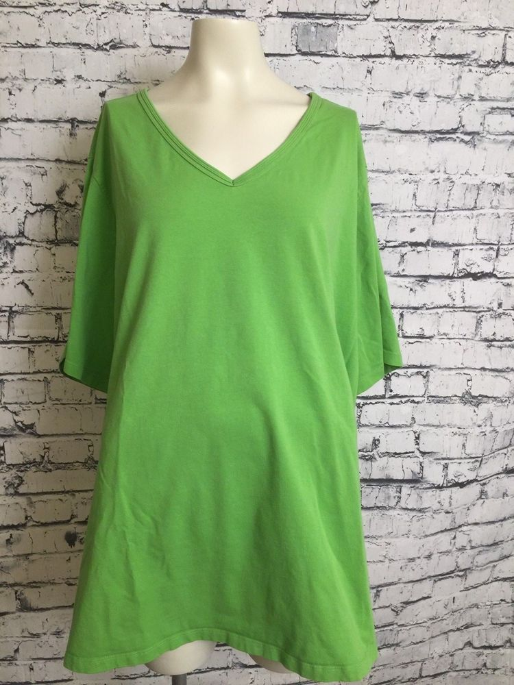 2521ad7af81 Catherines Suprema Collection Plus Size 4X 30 32 Green Top Pullover Shirt V  Neck  Catherines  Top  Casual