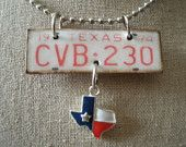 vintage texas license plate necklace