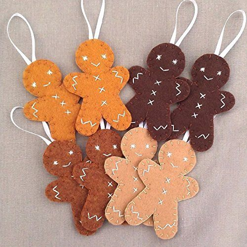 8 cute gingerbread man ornaments, Christmas cookie decorations A - christmas decors