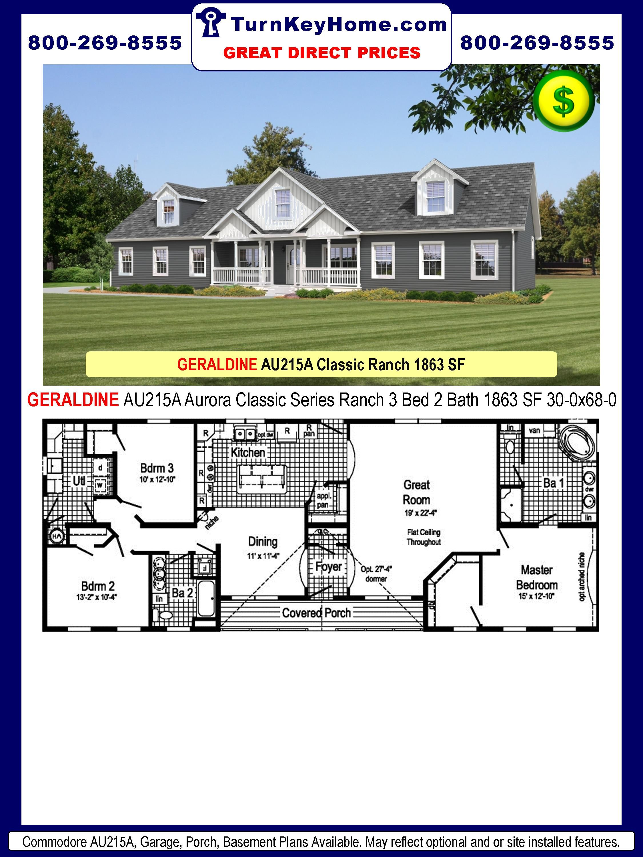 Swell Geraldine Au215A 3 Bed 2 Bath Ranch Plan 1863 Sf Download Free Architecture Designs Remcamadebymaigaardcom