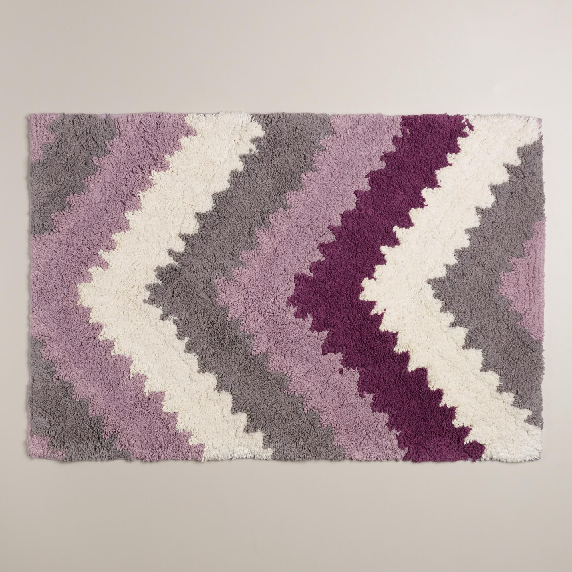 Lavender And Frost Gray Chevron Bath Mat With Images Plum