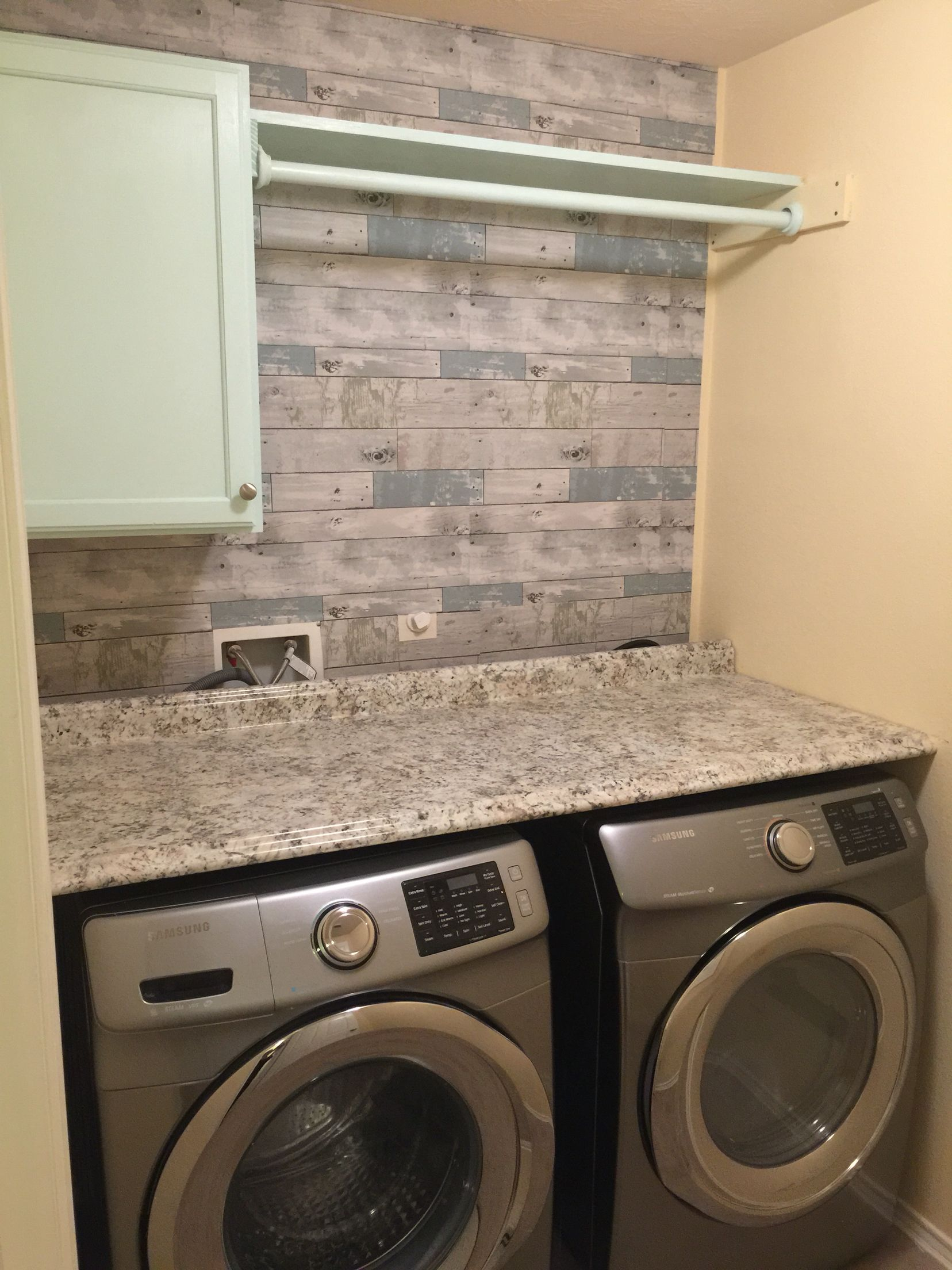 Our Diy Laundry Room Peel And Stick Wallpaper Fresh Paint On
