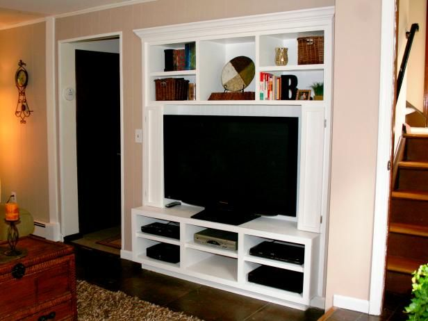 turn a closet into a built in entertainment center