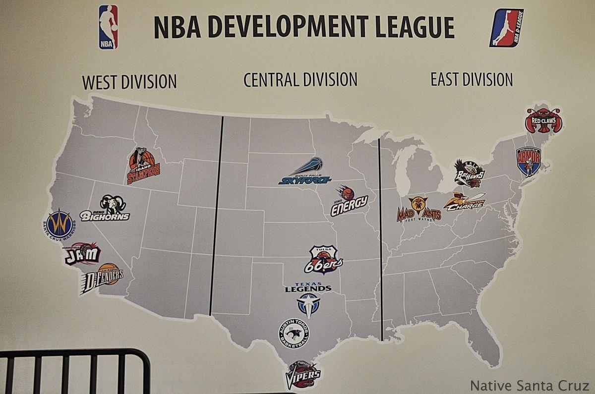 NBA Development League Map The Santa Cruz Warriors have put Santa