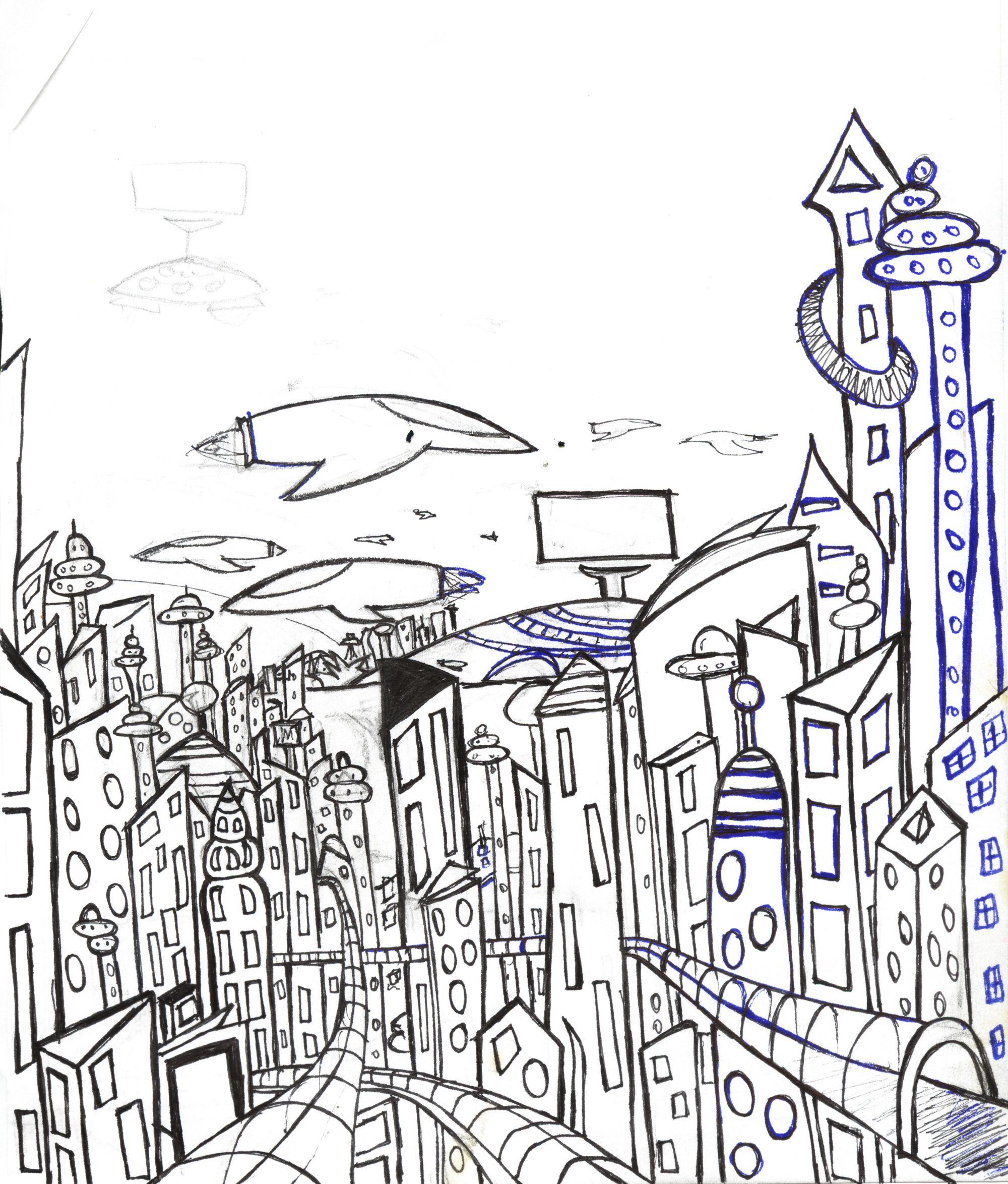Future City Futuristic City City Sketch Futuristic