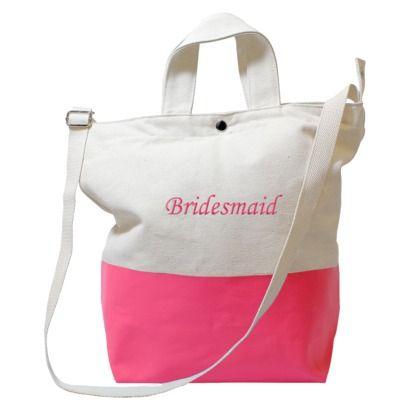 Bright Pink Color Dipped Bridesmaid Tote