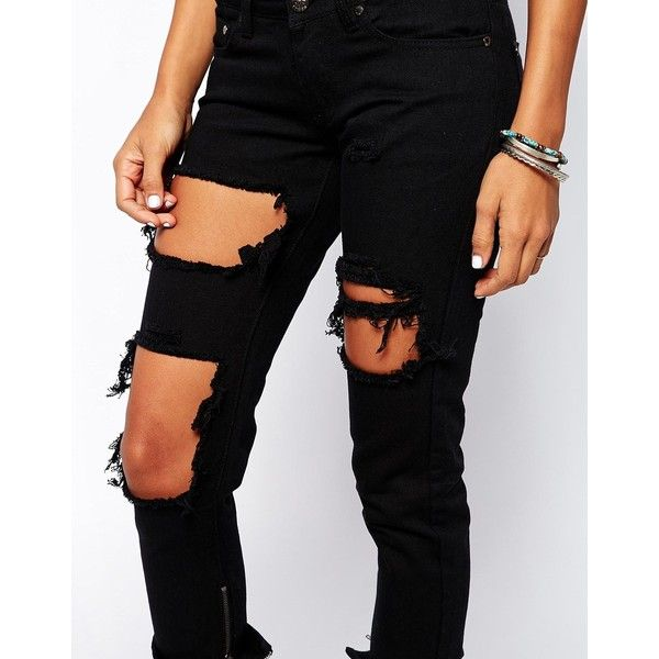 Fake Sale Online Classic For Sale Skinny Jeans With Extreme Distressing Ripped Knees - Black Liquor & Poker Cheap Sale Cheapest Price Sale Free Shipping Sv49PmOMXp