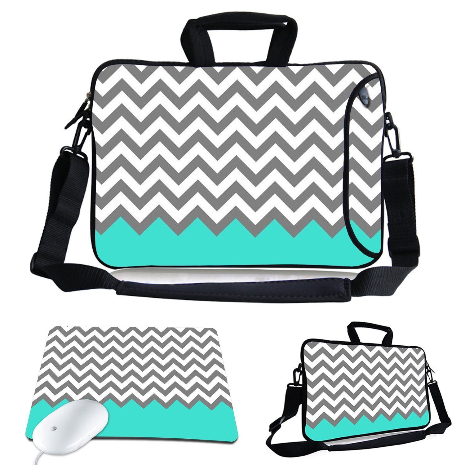 5a2abe7ccee Kitron (TM) 13-Inch Cute Colorful Cross Stripe Design Waterproof Neoprene Laptop  Sleeve Case Bag with Extra Side Pocket