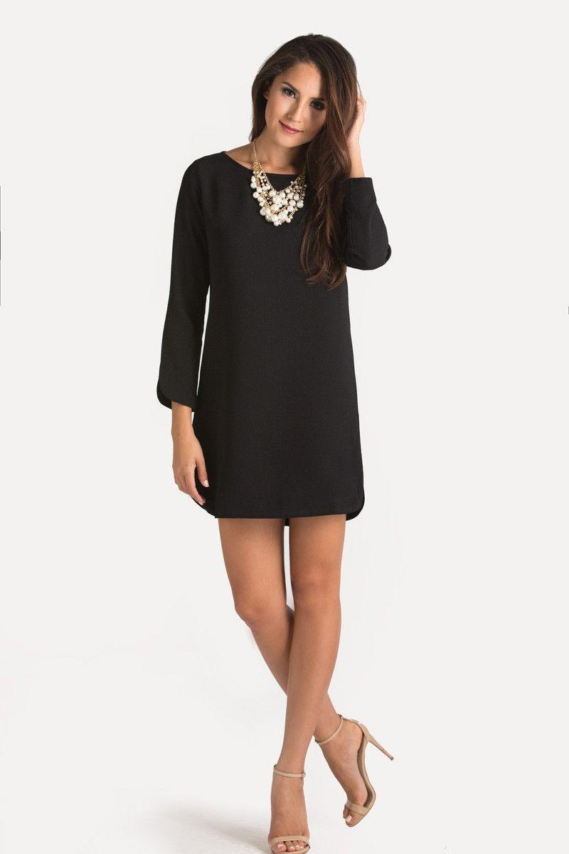 Christina Black Long Sleeve Shift Dress