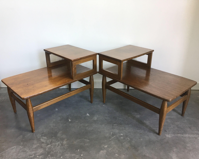 Pair Of Vintage Mid Century Modern Step Tables Solid Wood