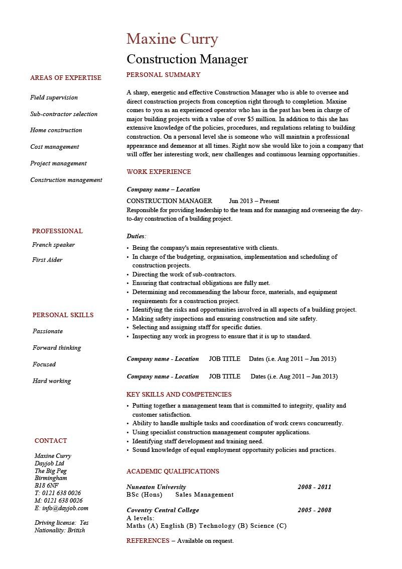 Construction Manager Cv Example Resume Template Building Pdf Oil And Gas Residential Project M Project Manager Resume Job Resume Examples Resume Skills