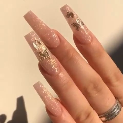 pink glitter long gold butterfly coffin acrylic nails  in