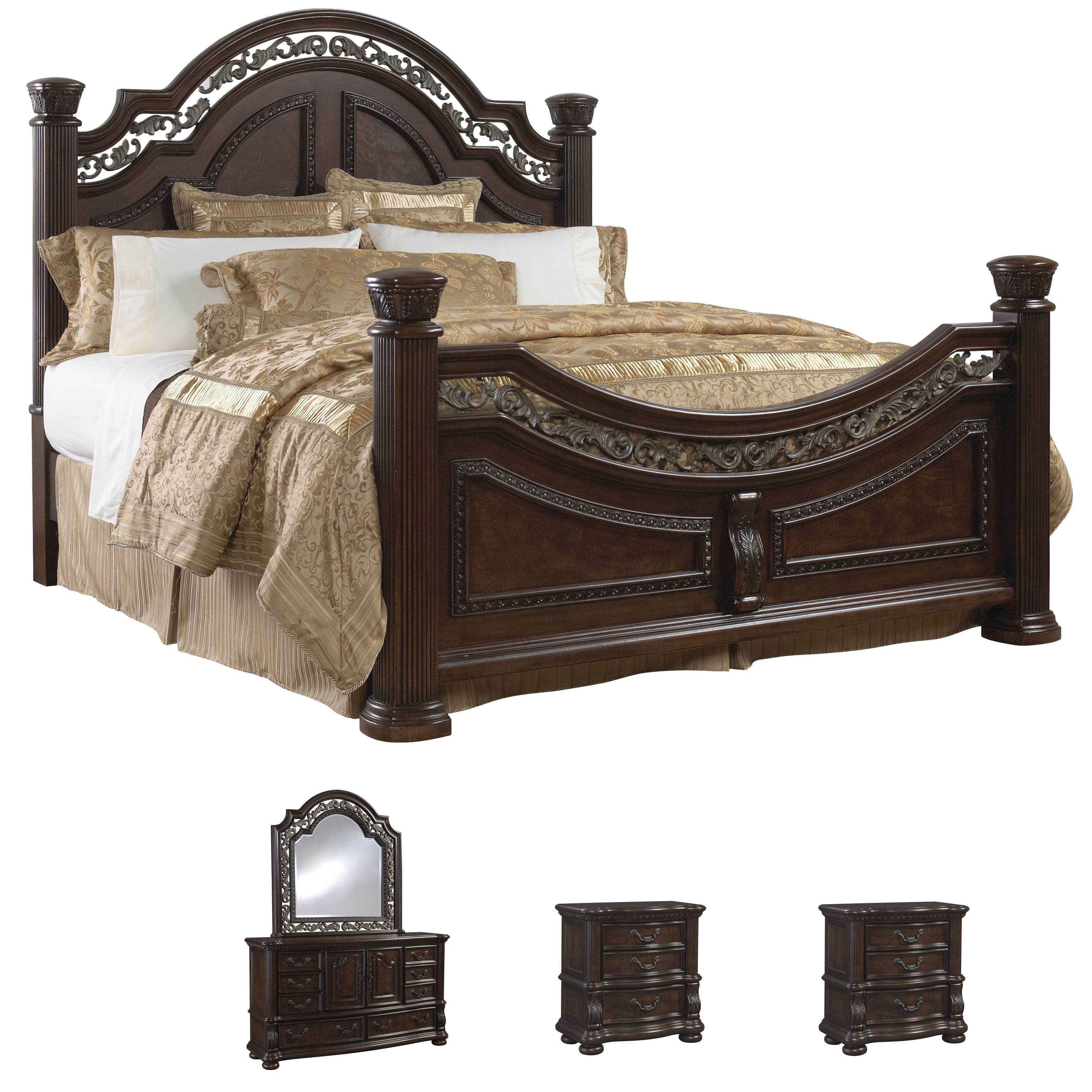 Tuscany 5 piece mocha finish king size bedroom set king - King size bedroom set with mattress ...