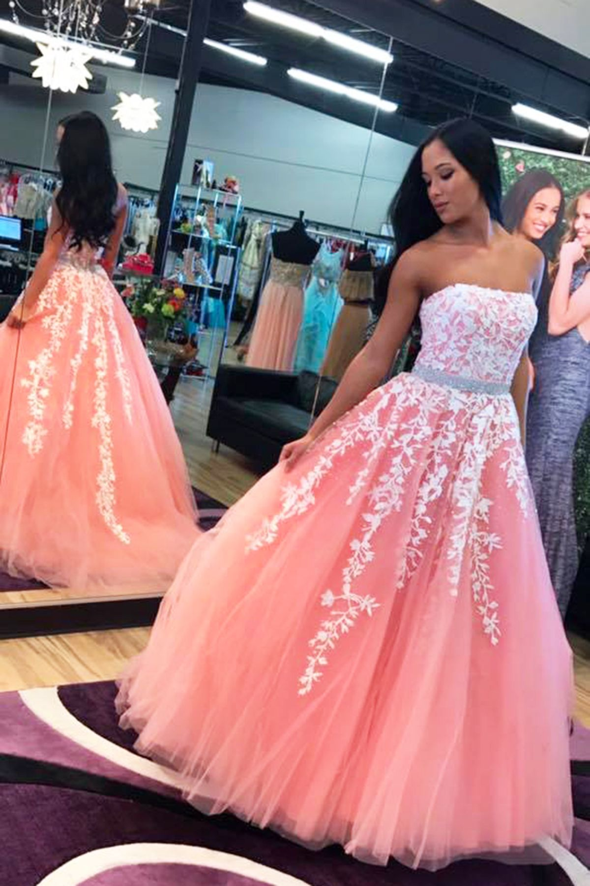 Beautiful lace appliqued pink tulle prom dress, ball gown,prom ...