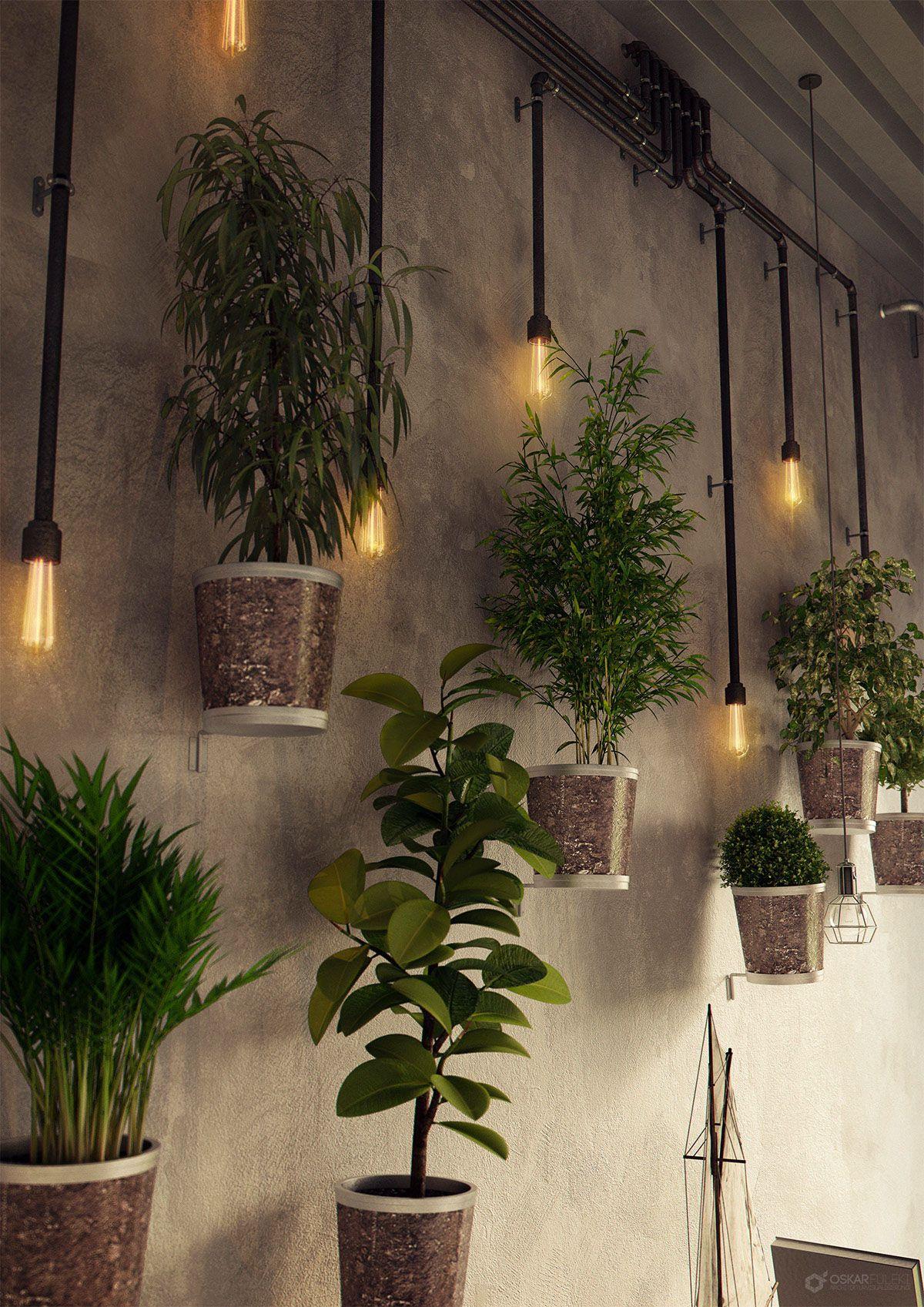 Industrial restaurant full cgi on behance 3d interiors - Wandgestaltung altbau ...