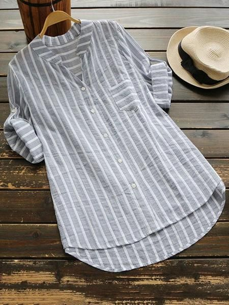 Casual 3/4 Sleeve Buttoned High Low V neck Stripes Linen Blouse #blue
